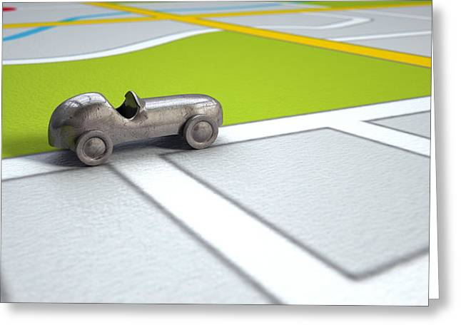 Gps Greeting Cards - GPS Map With Metal Toy Car Greeting Card by Allan Swart