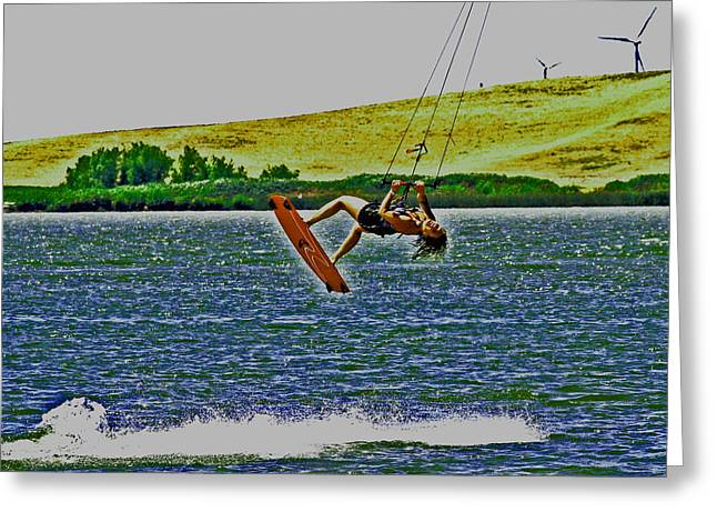 Wind Surfing Art Greeting Cards - Gr8 Lift Greeting Card by Joseph Coulombe