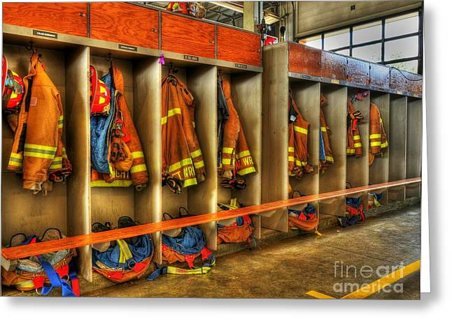 Fireman Boots Greeting Cards - Grab Your Gear Greeting Card by Mel Steinhauer
