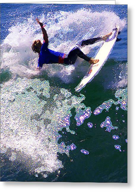 Surfing Contest Greeting Cards - Grabin The Lip Greeting Card by Ron Regalado