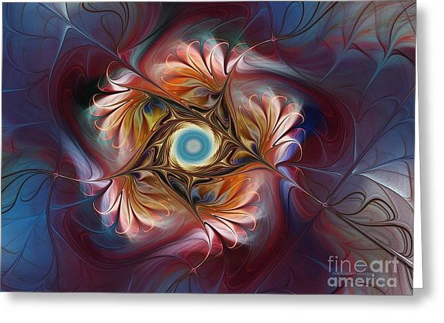 Flowery Greeting Cards - Grace and Elegance-Floral Fractal Design Greeting Card by Karin Kuhlmann
