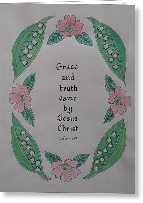 Illustrated Scripture Greeting Cards - Grace and Truth Greeting Card by Olive Denyer