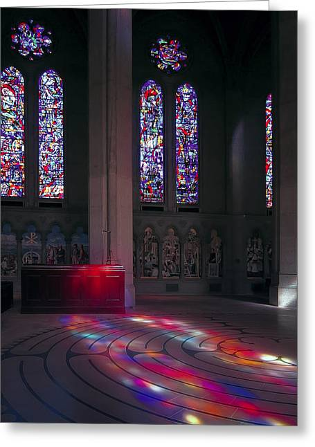 Labyrinth Greeting Cards - Grace Cathedral Walking Labyrinth - San Francisco Greeting Card by Daniel Hagerman
