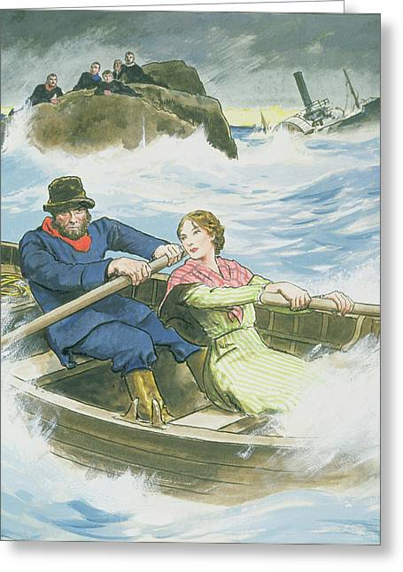 William Drawings Greeting Cards - Grace Darling And Her Father Rescuing Greeting Card by Trelleek
