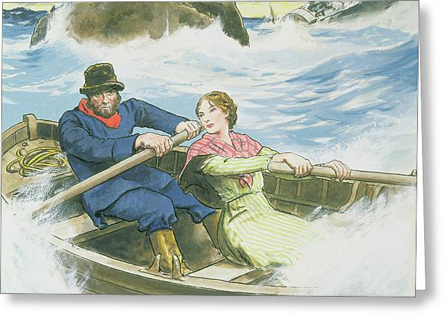 Grace Darling And Her Father Rescuing Greeting Card by Trelleek