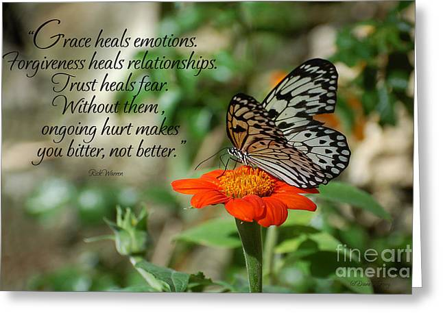 Forgiveness Greeting Cards - Grace Heals Greeting Card by Diane E Berry