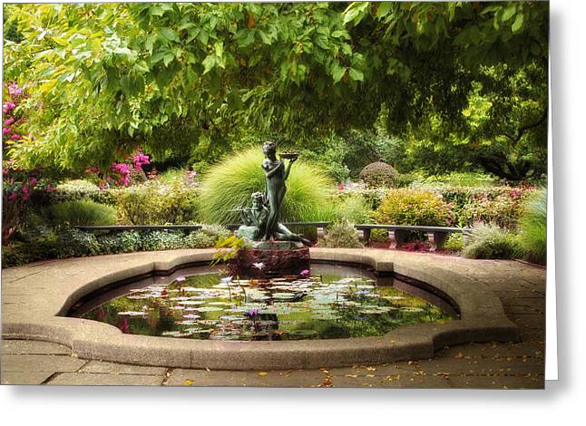 Conservatory Garden Greeting Cards - Grace in the Park Greeting Card by Jessica Jenney