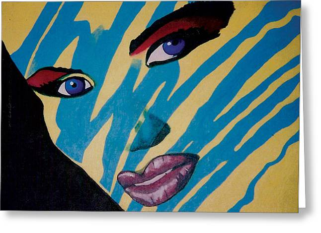 Sunglasses Pastels Greeting Cards - Grace Jones Cover Reproduction Greeting Card by Mike Manzi