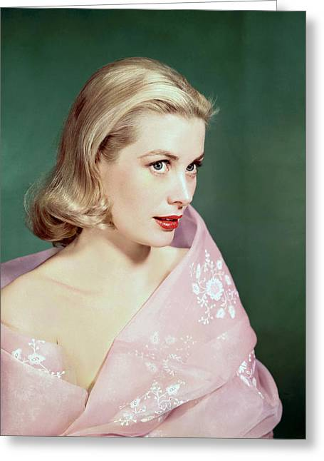Kelly Greeting Cards - Grace Kelly Fashion Portrait Greeting Card by Nomad Art And  Design