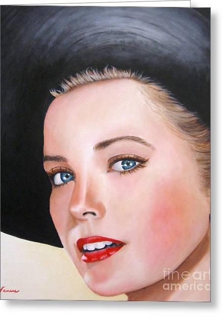 Vintage Painter Greeting Cards - Grace Kelly In A Black Hat Greeting Card by Venus
