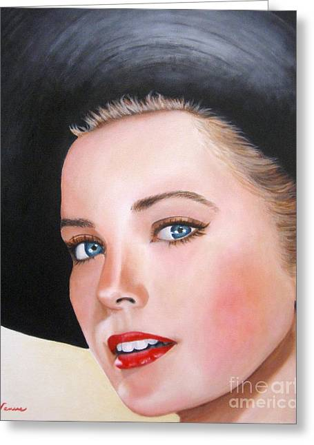 Vintage Painter Mixed Media Greeting Cards - Grace Kelly In A Black Hat Greeting Card by Venus