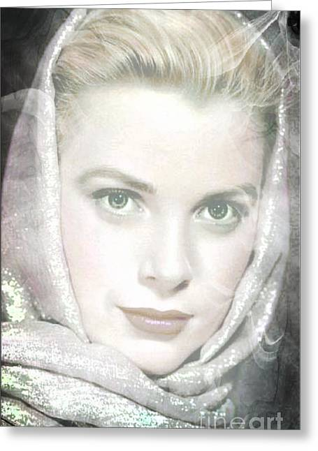 Kelly Mixed Media Greeting Cards - Grace Kelly Greeting Card by M and L Creations