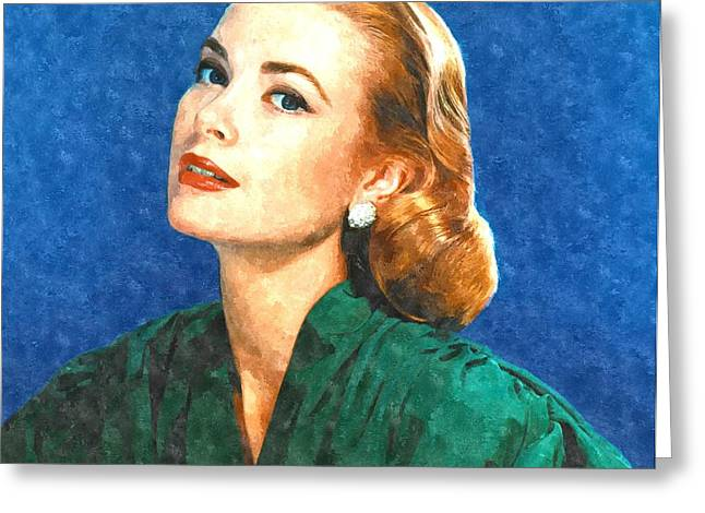 Actor Photographs Greeting Cards - Grace Kelly Painting Greeting Card by Gianfranco Weiss