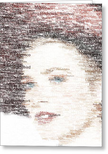 Rear Window Greeting Cards - Grace Kelly Typo Greeting Card by Taylan Soyturk