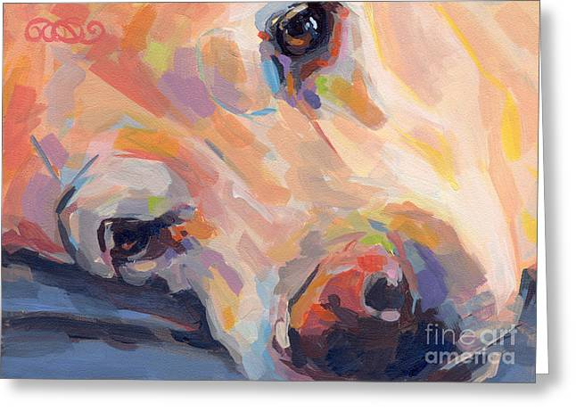 Yellow Dog Paintings Greeting Cards - Grace Greeting Card by Kimberly Santini