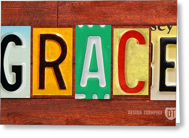 Road Trip Greeting Cards - GRACE License Plate Name Sign Fun Kid Room Decor. Greeting Card by Design Turnpike