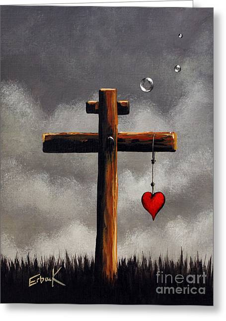 The Wooden Cross Greeting Cards - Grace Lives Here by Shawna Erback Greeting Card by Shawna Erback