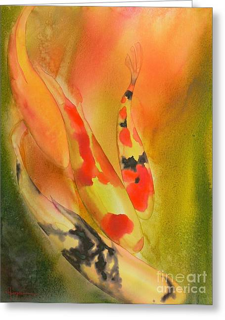 Koi Pond Greeting Cards - Grace Greeting Card by Robert Hooper