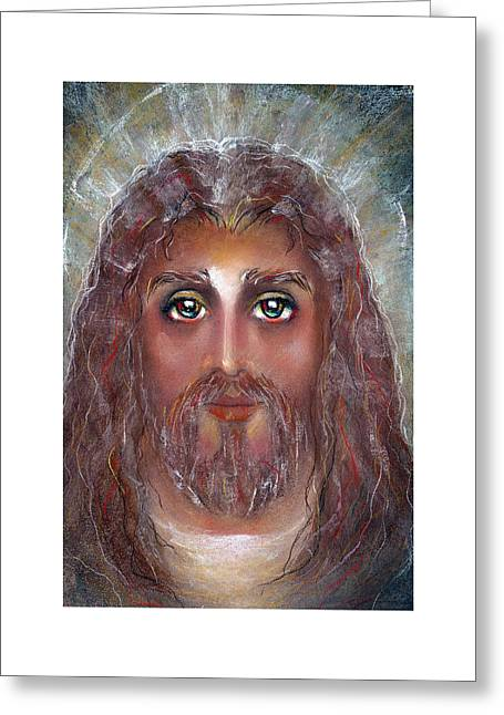 Thomas Pastels Greeting Cards - GRACE Pastel Eikons of Christ Greeting Card by Vicki Thomas