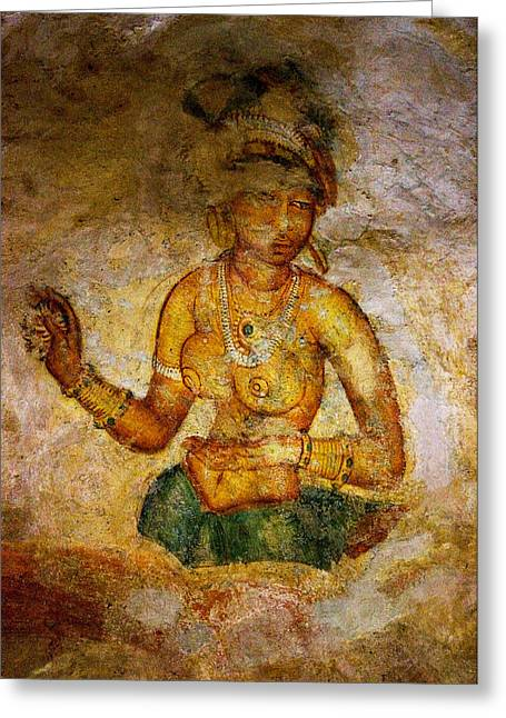 Ceylon Greeting Cards - Graceful Absara. Sigiriya Cave Painting Greeting Card by Jenny Rainbow