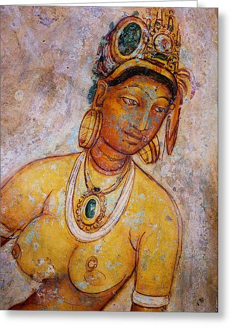 Ceylon Greeting Cards - Graceful Apsara. Sigiriya Cave Painting Greeting Card by Jenny Rainbow