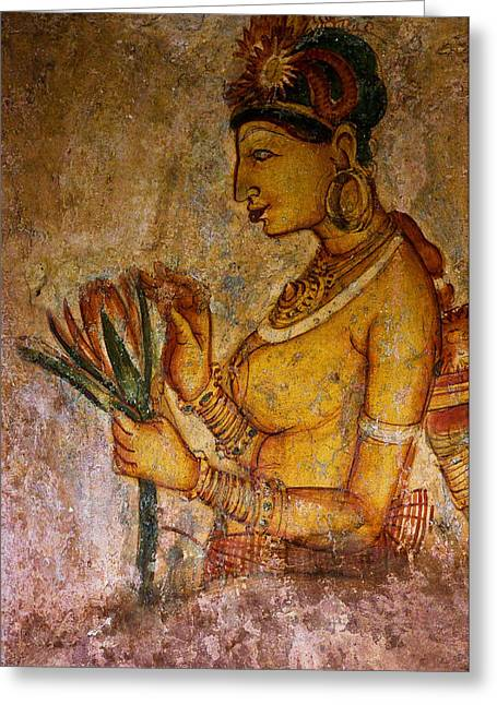 Ceylon Greeting Cards - Graceful Apsara with Lotus. Sigiriya Cave Painting Greeting Card by Jenny Rainbow