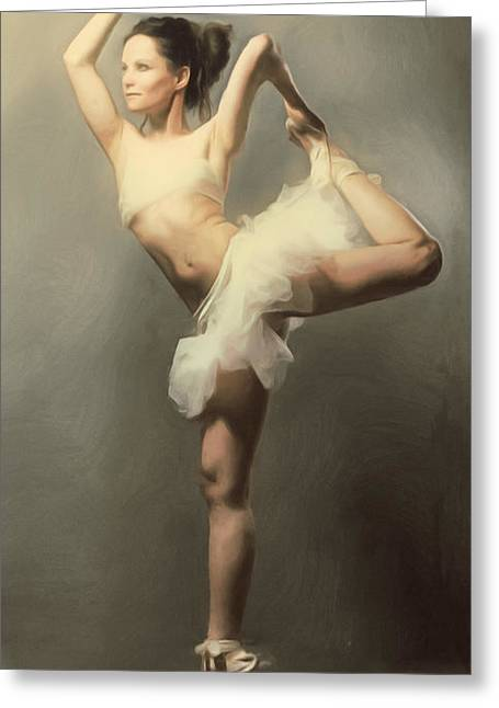 Traditional Greeting Cards - Graceful En Pointe Ballerina Greeting Card by Georgiana Romanovna
