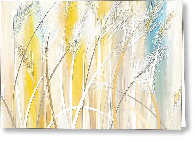 Blues And Yellows Greeting Cards - Graceful Grasses Greeting Card by Lourry Legarde