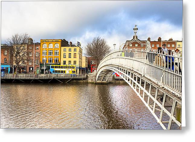 Graceful Ha'penny Bridge Over River Liffey Greeting Card by Mark E Tisdale