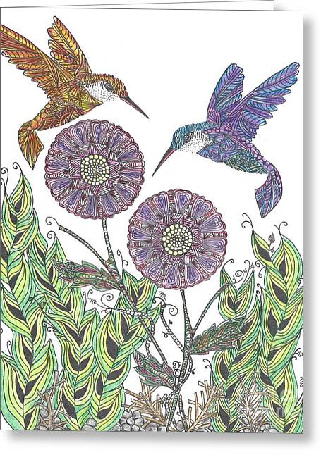 Flying Animal Drawings Greeting Cards - Graceful Humming Birds 2 Greeting Card by Dianne Ferrer