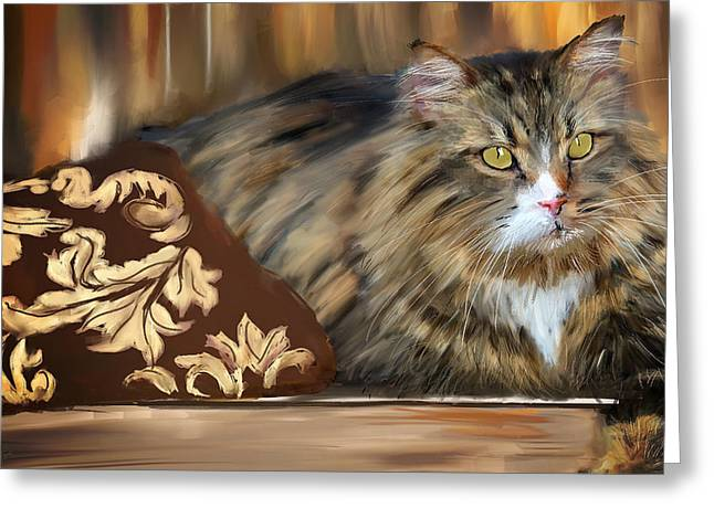 Feline Art Greeting Cards - Graceful Sit Greeting Card by Lourry Legarde