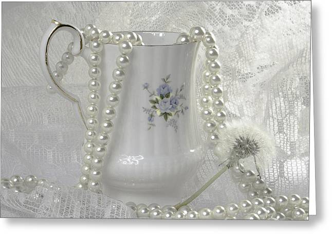 White Pearl Greeting Cards - Graceful White Greeting Card by Camille Lopez