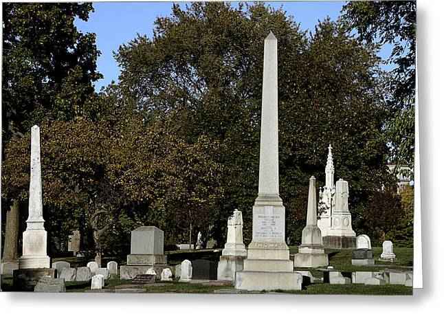 Obelisk Greeting Cards - Graceland Chicago - The Cemetery of Architects Greeting Card by Christine Till