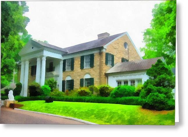 Tennessee Landmark Greeting Cards - Graceland Mansion Greeting Card by Dan Sproul