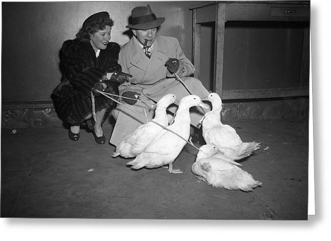Wife Greeting Cards - Gracie Allen and George Burns playing with ducks Greeting Card by Retro Images Archive