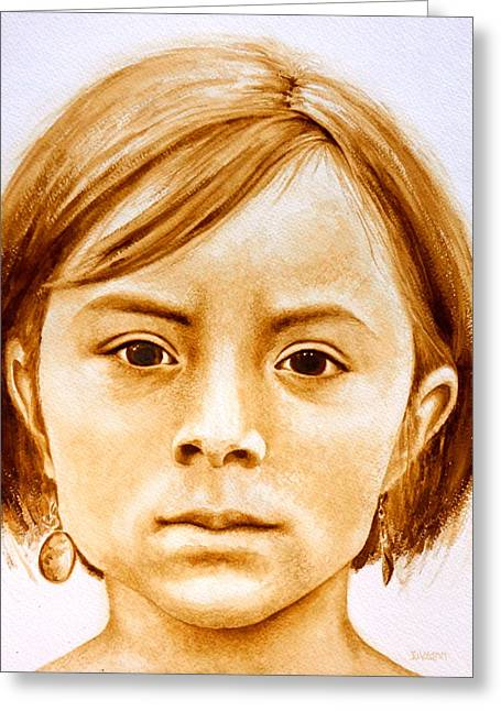 Native American Spirit Portrait Paintings Greeting Cards - Gracie Greeting Card by Julee Nicklaus