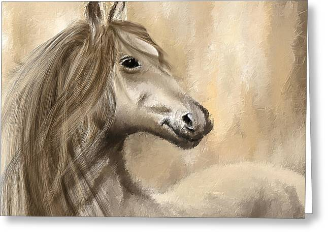 Equestrian Prints Greeting Cards - Gracious Wild- Cream And Brown Painting Greeting Card by Lourry Legarde