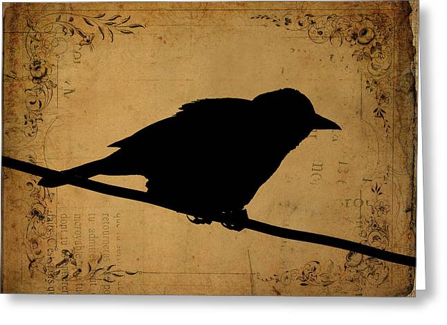 Grunge Greeting Cards - Grackle Grunge Greeting Card by Cassie Peters