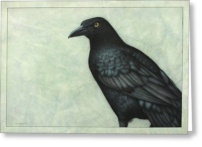 Ravens Greeting Cards - Grackle Greeting Card by James W Johnson