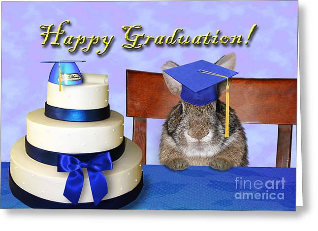 Wildlife Celebration Greeting Cards - Graduation Bunny Rabbit Greeting Card by Jeanette K
