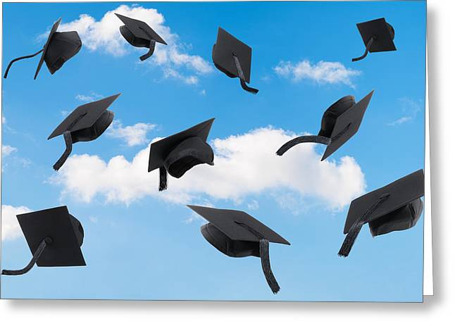 Graduation Photographs Greeting Cards - Graduation Mortar Boards Greeting Card by Amanda And Christopher Elwell