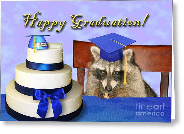 Wildlife Celebration Greeting Cards - Graduation Raccoon Greeting Card by Jeanette K