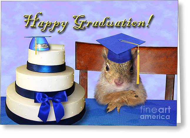 Wildlife Celebration Greeting Cards - Graduation Squirrel Greeting Card by Jeanette K