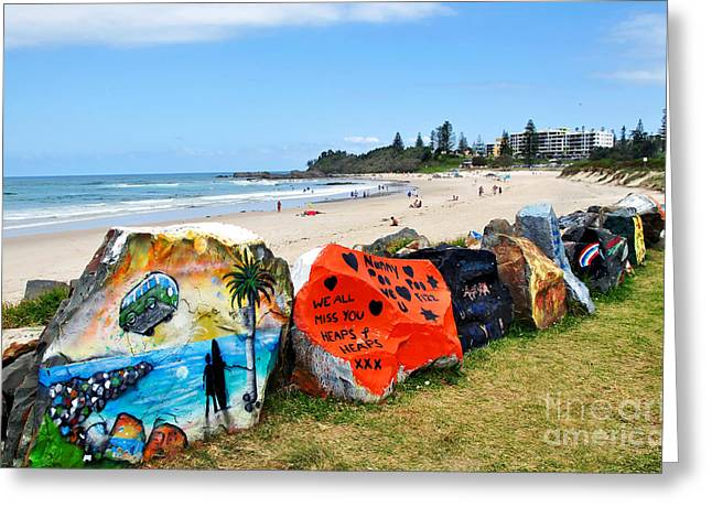 Macquarie Greeting Cards - Graffiti at the Beach Greeting Card by Kaye Menner