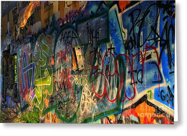 Abstract Expression Photographs Greeting Cards - Graffiti Blues Greeting Card by Terry Rowe