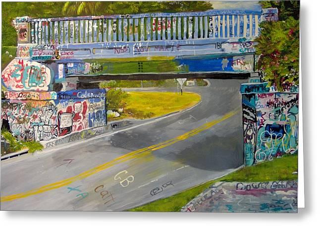Roadway Drawings Greeting Cards - Graffiti Bridge Pensacola Greeting Card by Linda Stoughton