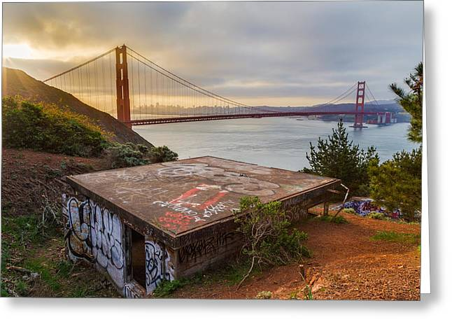 Graffiti Photographs Greeting Cards - Graffiti by the Golden Gate Bridge Greeting Card by Sarit Sotangkur