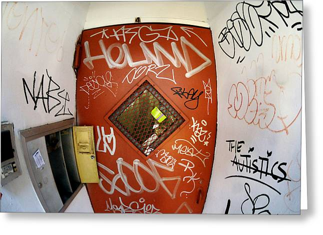 New York City Graffiti Greeting Cards - Graffiti door Greeting Card by Mike Lindwasser Photography