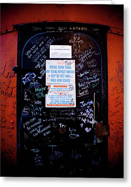Rusted Greeting Cards - Graffiti Door Greeting Card by Sebastian Musial