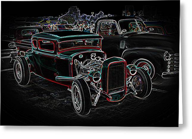1949 Plymouth Greeting Cards - Graffiti Glow Greeting Card by Steve McKinzie